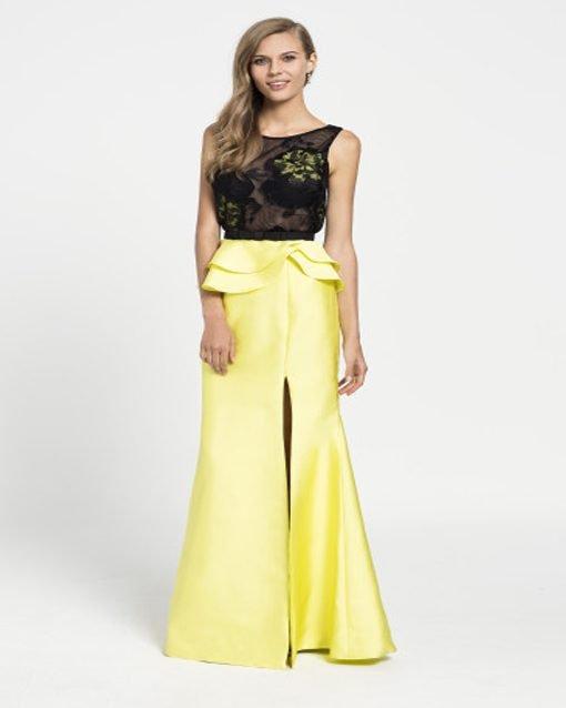d821322f1 Vestido largo de fiesta Modelo 20206 de Evassé. ¡Oferta! amarillo-negro- evasse