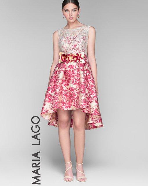 Vestido brocado en color fresa - Modena novias