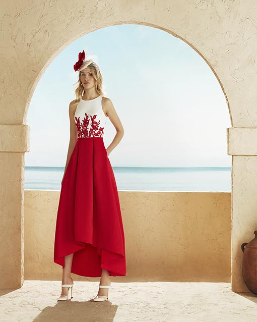 2dfb1109f Vestido de fiesta de Marfil Barcelona 3J283. middi-rojo-marfil